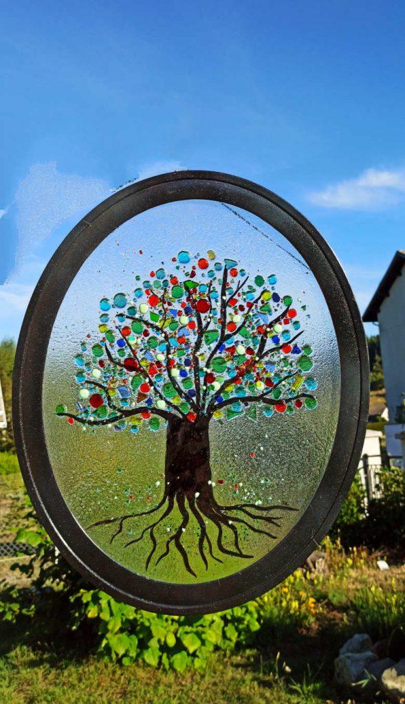 vitrail fusing arbre coloré