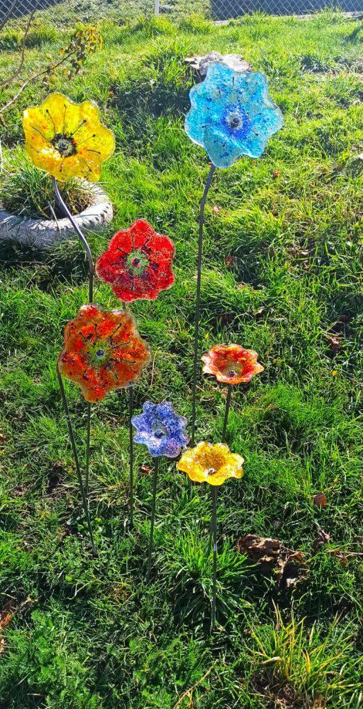 bouquet de fleurs en verre fusionné