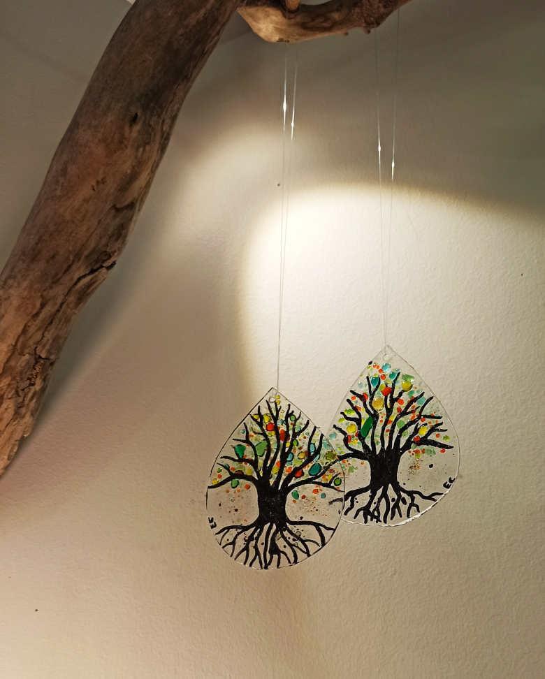 gouttes en verre, arbre