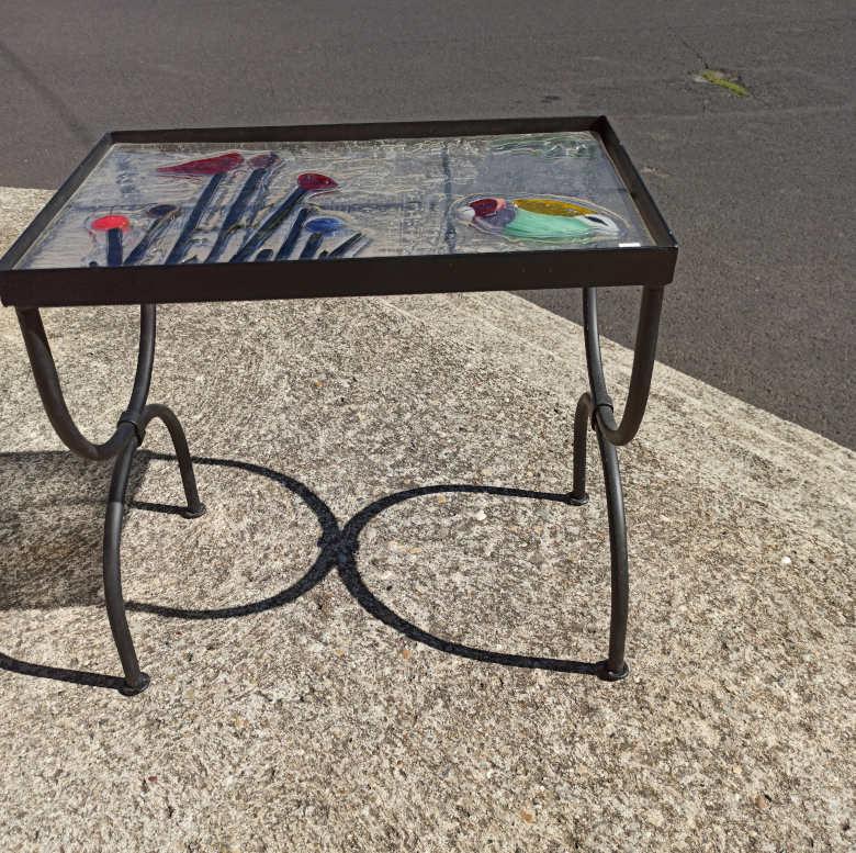 table en verre fusionné oiseau coquelicots