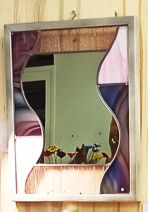 vitrail miroir rose violet