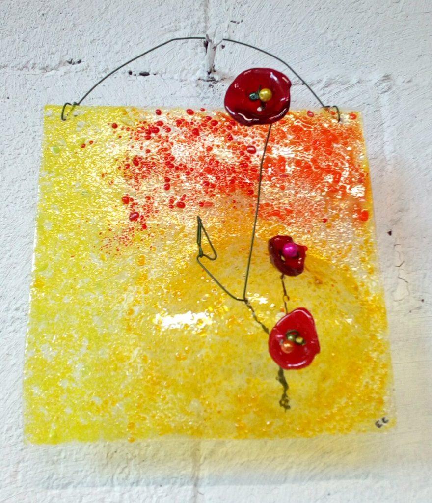 tableau en verre, jaune et ses 3 coquelicots